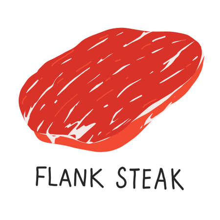 Flank steak, raw meat, uncooked beef cut piece, realistic vector illustration on white backgroound  イラスト・ベクター素材