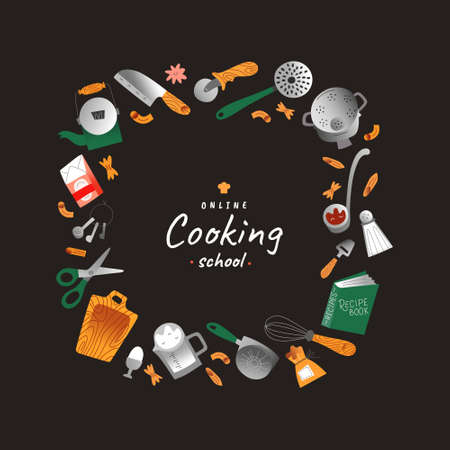 Online cooking classes, vector frame border, banner or poster template with copy space for cooking school, hand drawn wreath with illustrations kitchen utensils and tools for cooks. Simple modern art