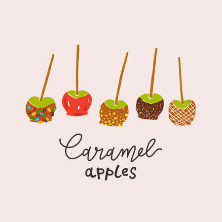 Caramel apples set, various taffy or toffee apples-on-a-stick decorated with various topping with caramel or red dipping, hand drawn modern illustration with lettering