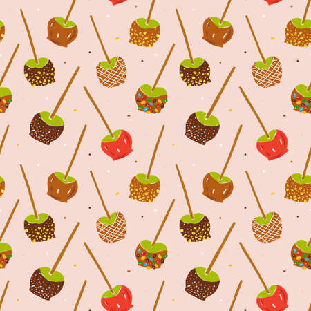 Caramel apples seamless pattern, various toffee apples-on-a-stick with various topping with caramel dipping, hand drawn doodle illustration, vector background