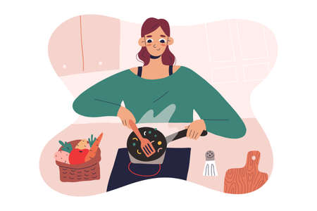 Woman cooking at home, at her kitchen, cute young female preparing food, using a frying pan, modern cartoon character, vector illustration, cozy kitchen interior
