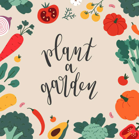 Plant a garden lettering, vector frame with illustrations of farmers market eco product, organic vegetables. Square vector template