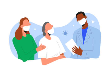 Patient getting well from virus pneumonia, medical doctor and family visiting a senior woman in hospital recovering from coronavirus infection, vector