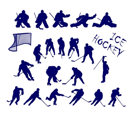 ice skates: Scalable  silhouettes of 15 ice hockey players and 5 goalkeepers.