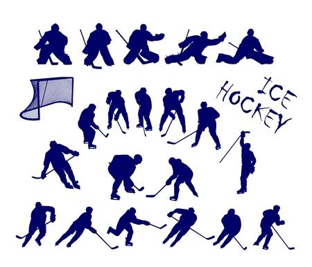 fiambres: Siluetas escalables de 15 jugadores de hockey sobre hielo y 5 a los guardametas.