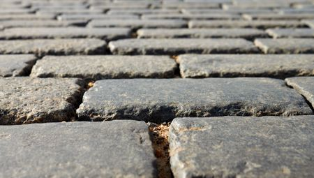 Close-up Of Red Square Block Pavement photo