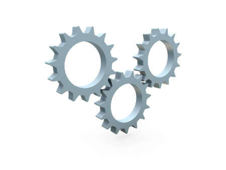 gearings: 3d cogs on white background