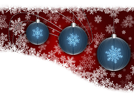Flyer Blue Christmas balls on red background photo