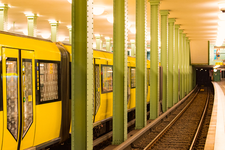 u bahn: The yellow Subway in the City of Berlin Stock Photo