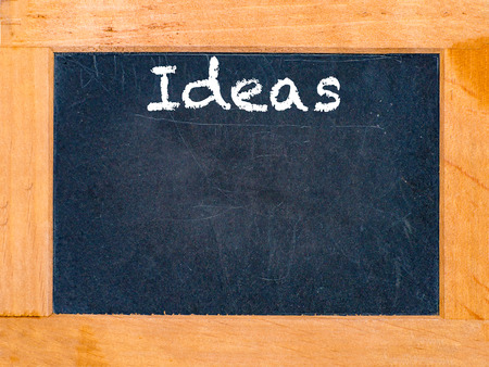 The ideas chalk board and vintage table Stock Photo