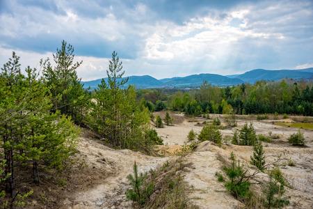 dismantle: Narrow path in the sandstone pit in thuringia saalfeld