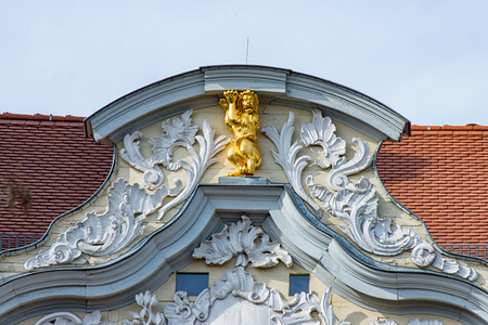 The Golden lion at the top of a house in Erfurt at the fish market