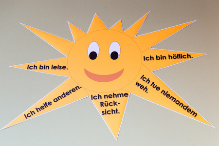 The sun with instructions in German at a elementary school Stock Photo