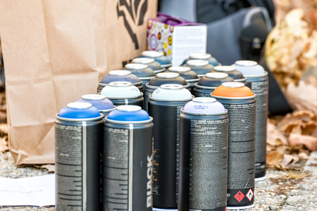 Many different spray cans with different colors Stock Photo