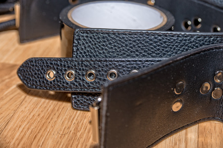 The Leather collar with rivets for bondage