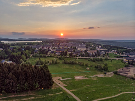 The Sunset over the town Altenberg in Saxony