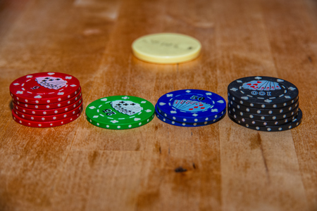 Poker chips and cards for Texas hold'em