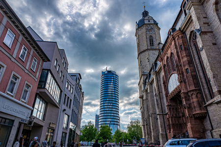 City church St. Michael and Intershop tower Uniturm in Jena