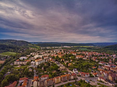 City Kahla in Thuringia Germany at sunset