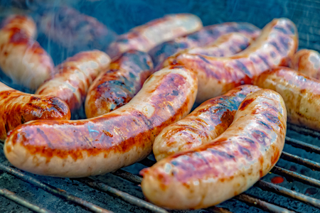 Bratwurst on the charcoal grill