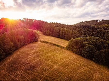 Sunset over a field in the Czech Republic