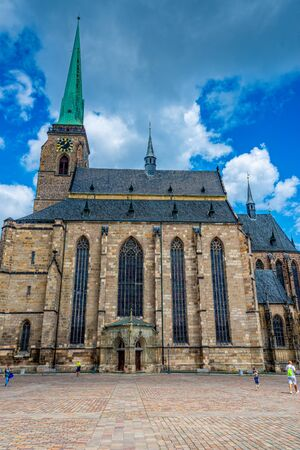 The St. Bartholomew's Cathedral of Pilsen in the Czech Republic Stockfoto - 128606503