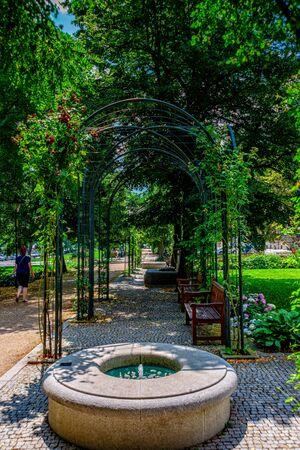The city garden of Pilsen in the Czech Republic Stockfoto - 128606460