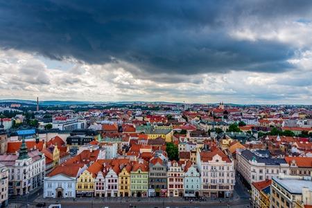 The city center of Pilsen in the Czech Republic