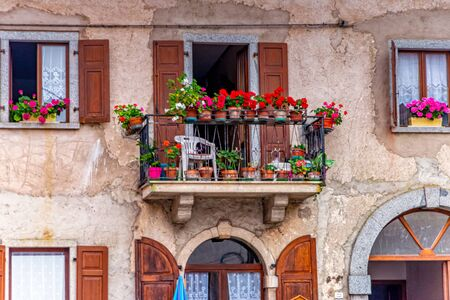 Typical balcony in South Tyrol in Italy Stockfoto