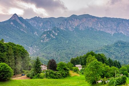 Mountains and small houses in South Tyrol in Italy