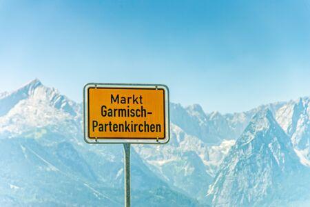 Entrance sign of Garmisch Partenkirchen