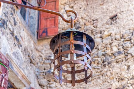 Street lamp in Canale di Tenno in South Tyrol in Italy