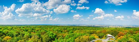 Panorama view from the treetop path in Hainichen in Thuringia Germany Stockfoto