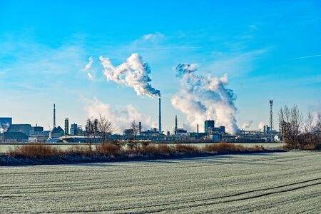 The Leuna plant in Leuna in Saxony-Anhalt in winter in Germany 스톡 콘텐츠