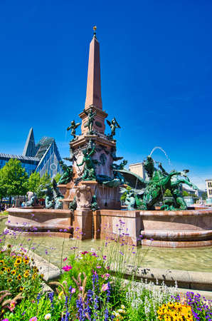 Mende fountain in the city of Leipzig near the Uni church