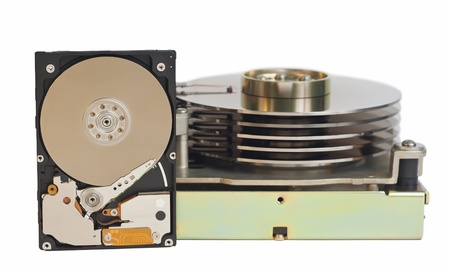2,5 inch hard disk drive and 5,25 inch hard disk drive  Isolated on a white background  No shadows on the background