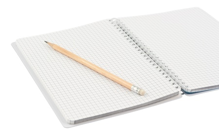 Notebook and pencil  Isolated on a white background  No shadows on the background