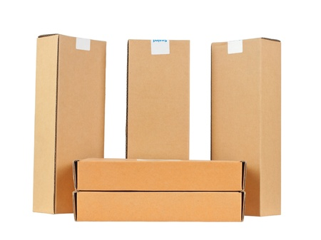 Cartons five pieces  Isolated on white background  On white background without shadows