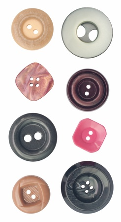Eight different plastic sew through buttons  Object is isolated on white background without shadows