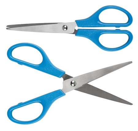 two object: Blue scissors  Object is isolated on white background without shadows