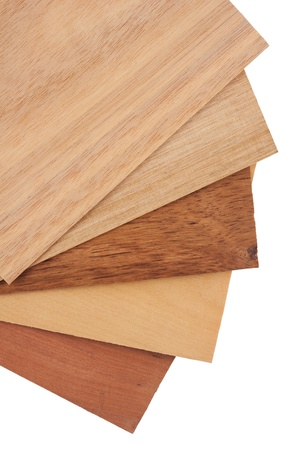 veneer: Tasmanian timbers are some of the most beautiful and distinct timbers available in Australia. Veneer packs contain samples of blackwood, myrtle, tasmania oak - quarter and crown cut and golden sassafras. Object is isolated on white background without shad Stock Photo