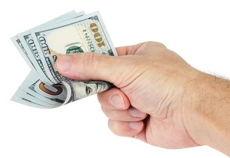 hand with money: A man gives money. Hand holds three hundred dollars isolated on white background.