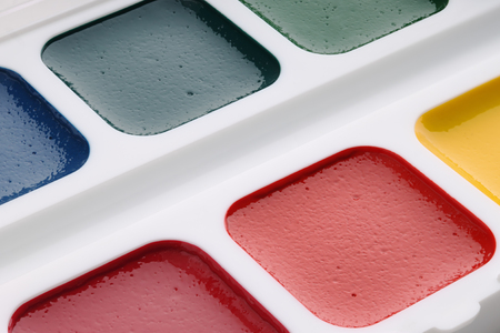 Watercolor paints close-up