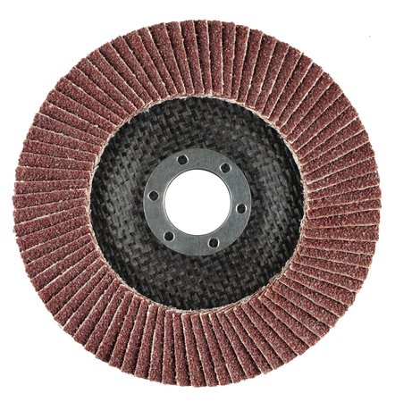 Abrasive flat flap disc for angle grinder. Object is isolated on white background without shadows. Stock Photo