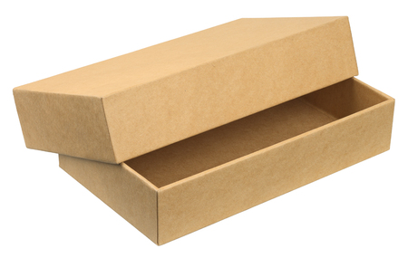 Open cardboard box. Object is isolated on white background without shadows. Stock Photo