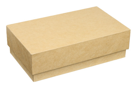 Closed cardboard box. Object is isolated on white background without shadows.