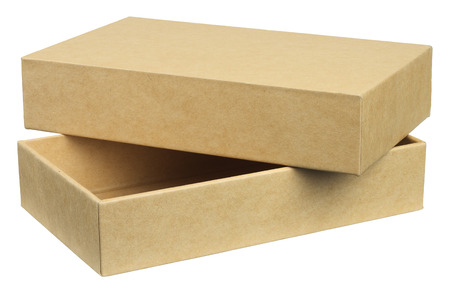 Packing box is made from recycled material, environmentally friendly. Object is isolated on white background without shadows.