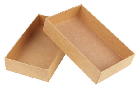 Cardboard box. It is a two-piece box with a separate lid that fits over a bottom tray. Object is isolated on white background.