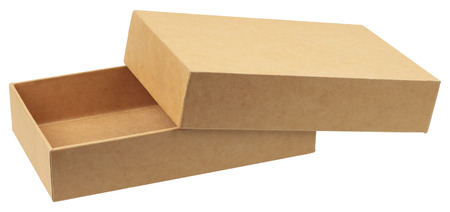 Cardboard box isolated on white background without shadows.