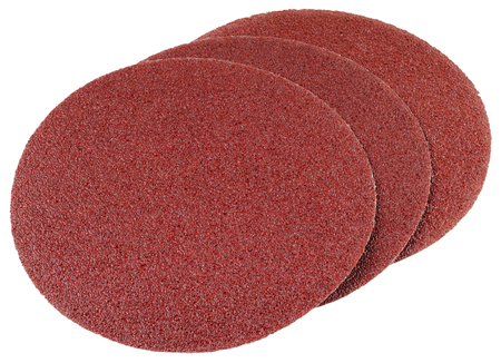 Abrasive discs for grinding and cleaning of metal, wood, paint and other materials. Isolated on white background.